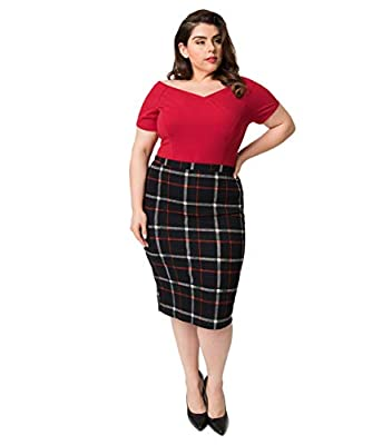 Plus Size Vintage Style Black & Red Tattersall Plaid High Waist Stretch Pencil Skirt