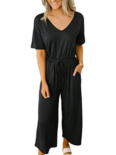 ANRABESS Women's Summer V Neck Short Sleeve Drawstring Waist Pockets Jumpsuit Romper CVheise-M WFF15 - Drawstring Jumpsuit Waist
