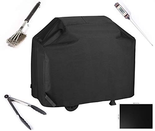 BBQ Gas Grill Cover With Cooking Tools Set Waterproof & Rip Resistant Heavy Duty 58 Inch 3-4 Burners Electric Barbecue Grill Cover Fit Weber, Charbroil, And Other Most Popular Grill Brands(Black) by Tingze