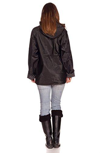 RAIN SLICKS Women's Classic Look Raincoat Hooded Plaid Lined Waterproof Jacket Large Black