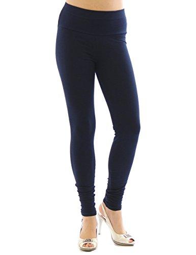 YESET Femme Leggings pantalon long leggings en coton Taille haute BLEU FONCÉ L