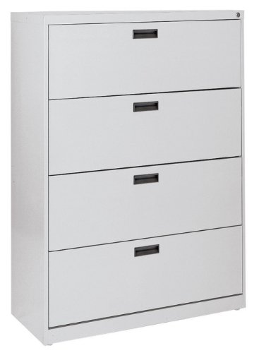 Sandusky 400 Series Dove Gray Steel Lateral File Cabinet with Plastic Handle, 30