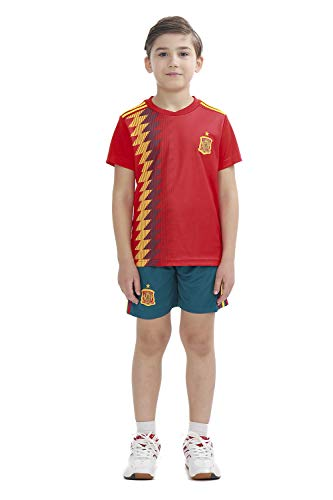 吐き出す厳しいキャンディーサッカー ワールドカップ 2018 スペイン代表 ホーム レプリカ ユニフォーム 半袖 キッズ L
