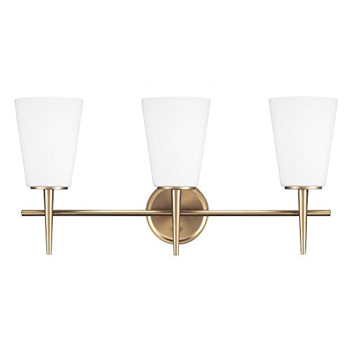 85%OFF Driscoll Three Light Wall / Bath Vanity in Satin Bronze with Etched Glass Painte
