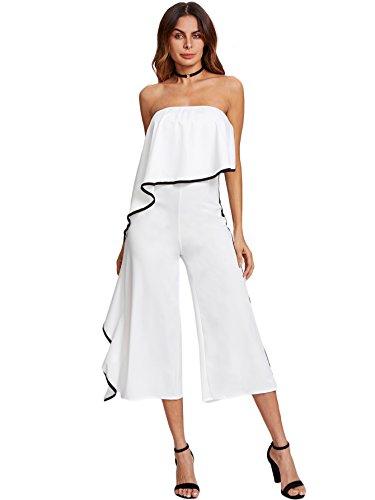 Trim Jumpsuit (DIDK Women's Layered Trim Frill Strapless Wide Leg Jumpsuits White XL)