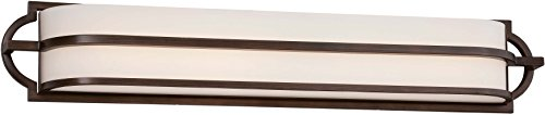 Minka Lavery Wall Light Fixtures 384-267B-L Mission Grove Glass Bath Vanity Lighting, LED, Dark Brushed Bronze