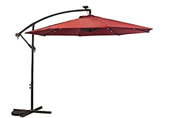 Sun-Ray 811045 10 Round Cantilever 8-Rib Offset Solar Patio Umbrella, 24 LED Lights, Crank with Adjustable Tilt, Cross Base, Aluminum Frame, Scarlet Red