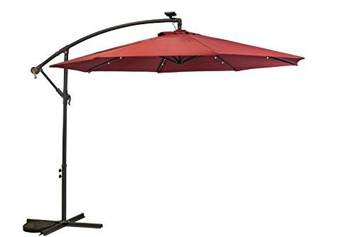 Sun-Ray 811045 10' Round Cantilever 8-Rib Offset Solar Patio Umbrella, 24 LED Lights, Crank with Adjustable Tilt, Cross Base, Aluminum Frame, Scarlet/Red (Simply Shade Umbrella)