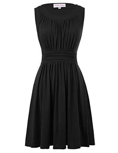 Belle Poque Casual Summer Swing Dress for Women Pleated Flared Size XL Black BP289-2 -