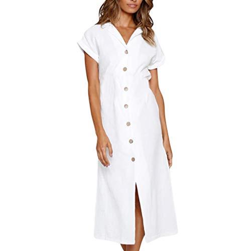 Jalili Women Casual Short Sleeve V Neck Button Split Loose Solid Maxi Dress(XXL,White)
