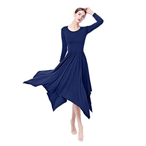 Women Irregular Hem Liturgical Praise Lyrical Ballet Dance Dress High Low Loose Fit Full Length Long Sleeve Swing Dress Worship Costume Praisewear Dancewear Church Circle Skirt Navy Blue XX-Large ()