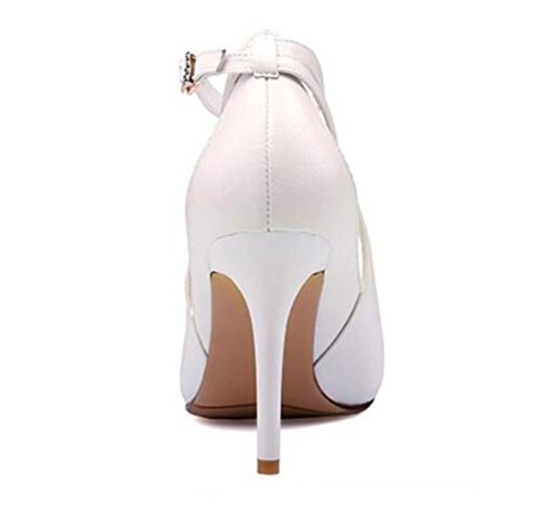 Party Dress chaussures tribunal bouche superficielle creuse boucle d'un mot sandales ultra-à talons hauts , milky white , 39