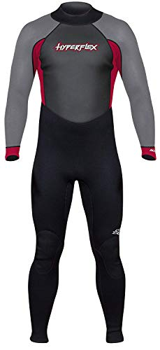 Hyperflex Women's and Men's 3mm Full Body Wetsuit - SURFING, Water Sports, Scuba Diving, Snorkeling - Comfort, Flexible and Anatomical Fit - and Adjustable Collar, Black/Red, XL