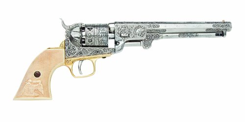 (Denix Civil War M1851 Replica Engrave Silver Navy Pistol Non Firing Gun)