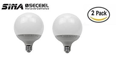SECEIEL ® Ampoule LED Globe E27 G93, (équivalent ampoule incandescente de 100W), blanc chaud - Lot de 2 [Classe énergétique A+] (GLOBO-15W, 10 Unidad) (équivalent ampoule incandescente de 100W) Sina Europa S.L