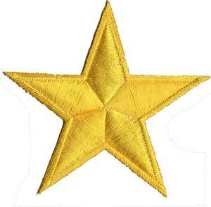Yellow Star Embroidered Iron on Patch by JATUJAKTHAI