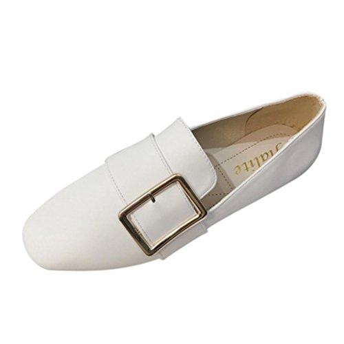 LHWY Sandalen Damen Zehentrenner, Frauen Einfarbig Platz Schnalle Flache Ferse Freizeitschuhe Mode Frühling Sommer Slipper Schuhe für Schüler Mädels Mädchen Teens Weiß
