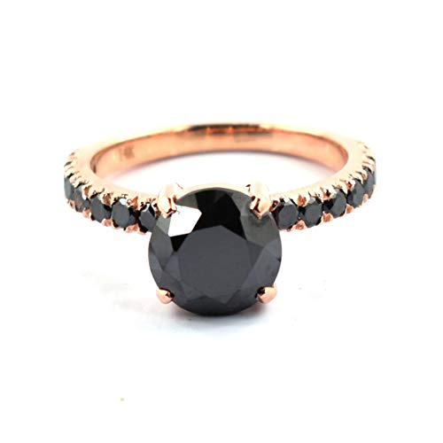 skyjewels 2.50Carat Round Brilliant Cut Black Diamond Solitare Women Ring in Rose Gold Amazing Collection in Best Price