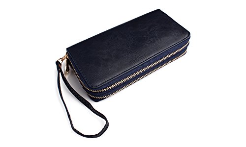 Classic Zip Around Wallet - PU Leather Double Zipper Clutch Purse with Card & Phone Slots, Removable Wristlet Strap (Navy) ()