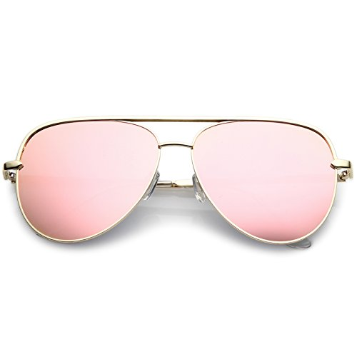 sunglassLA - Premium Oversize Metal Aviator Sunglasses With Colored Mirror Lens And Crossbar 60mm (Gold/Pink Mirror) from sunglassLA