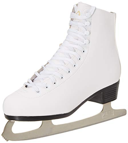 Leather Lined Girls Figure Skates - American Athletic Shoe Women's Leather Lined Ice Skates, White, 7