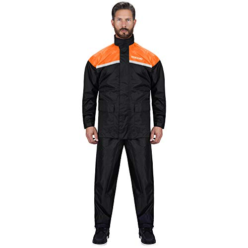Tall Rain Gear - Viking Cycle Motorcycle Rain Gear - Two Piece Motorcycle Rain Suit (Orange, S)