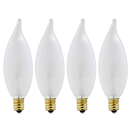 60w Double Life - 60-Watt Incandescent CAC Bent Tip Decorative Candelabra Base Double Life Soft White Light Bulb (4-Pack)