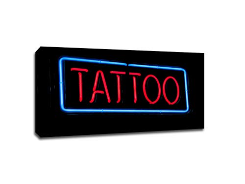 Tattoo Vintage Neon Sign Photography Printed on Gallery Wrapped Canvas. Comes Ready to Hang on Your Wall in just -