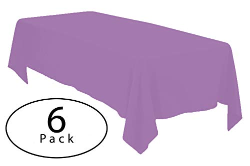 Tablecloth Lavender - Minel Disposable Party Table Cloths Rectangular 6 Pack Lavender