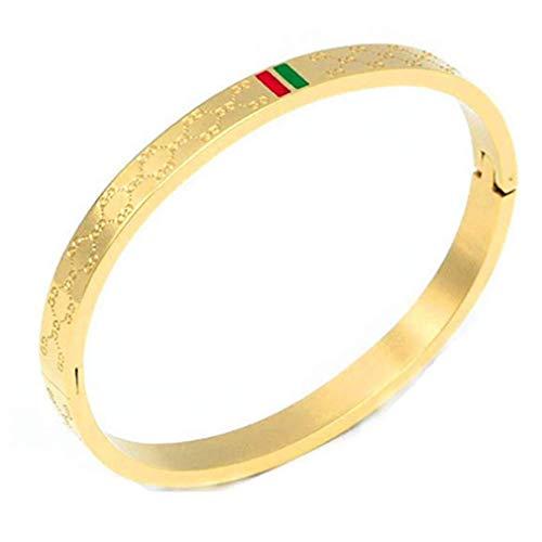 Godyce Gold Titanium Steel Bangle Women's Fashion Classic Lovely Brilliance Bracelet - Titanium Steel Red and Green Bracelets