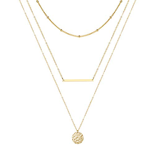 Forevereally Dainty Layered Necklace Lariat Bar Choker Necklace Hammered Disc Pendant Necklace 14K Real Gold Plated Simple Chain Necklace for Women