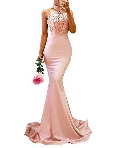 White Mermaid Backless Lace Long Halter Women's Prom Evening Bess Dress Bridal EIvtq