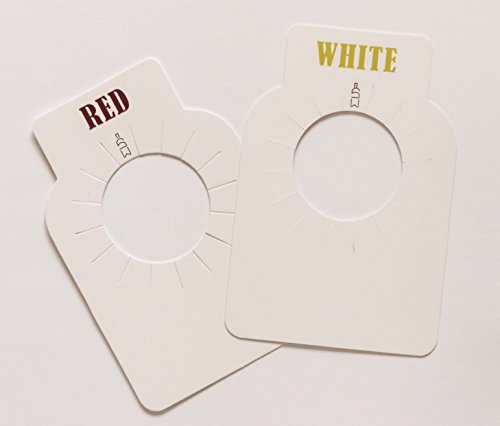 Stately Wine Bottle Tags for Wine Cellars and Racks, 100 tags, dual label (Red/White), premium paper (Cellar Bottle 100 Wine)