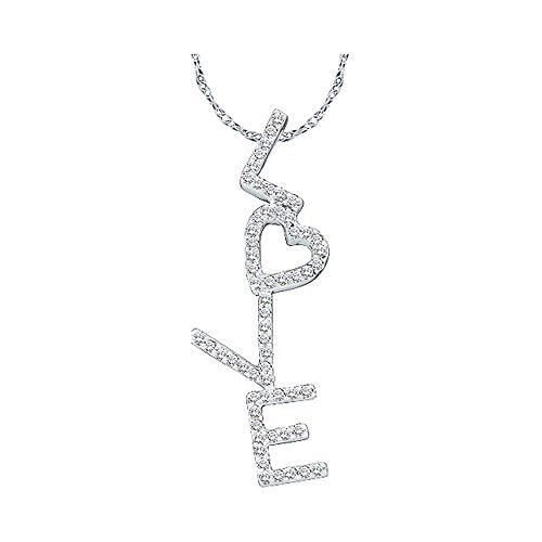Diamond Pendant for Women 14kt White Gold Round Love Letters Heart Word 1/5 Cttw -