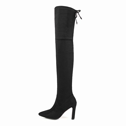 Up Womens Over Sexy The Dress Club Night Boots Knee Black Pointed Toe Carolbar Lace Zpwq44C
