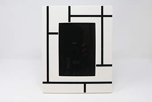 (Pacific Connections - Mondrian - Lacquered Wood - Black and White - Large Photo Frame (10.5