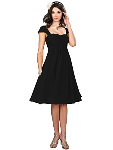 VaniaDress Women Chiffon Tea Length Bridesmaid Dress Party Gowns V274LF Black US10 from VaniaDress