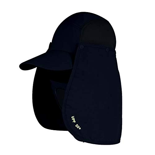UPF 50+ Sun Protection Cap, Unisex Breathable Wide Brim Hat with Neck Face Mask Flap for Outdoor Camping Fishing Hiking Hunting