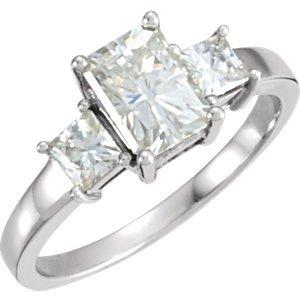 Amazon.com: 14K White Gold Creat Moiss Three Stone Ring