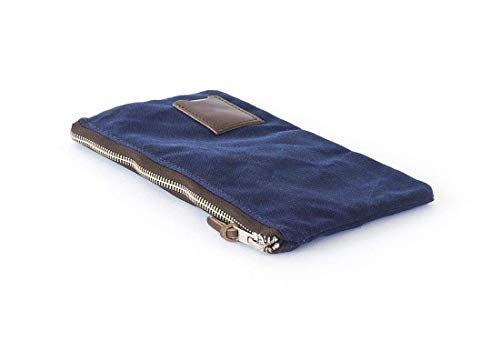 Waxed Canvas Flat Zipper Pouch: Compact, Travel, Organizer, Navy Blue - No. 239 (Made in the USA)