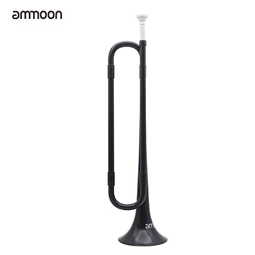ammoon B Flat Bugle Cavalry Trumpet Environmentally Friendly Plastic with Mouthpiece for Band School Student (Black)