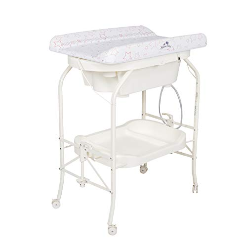 Kinbor Baby Bathinette Folding Changing Table Baby Diaper Station with Bath Tub Unit, Portable Children Baby Dresser Unit Infant Nursery Trays Storage