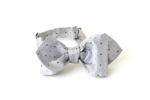 Bow Tie, Self tie, Men, Adjustable, Hook, Light blue, Silver, Polka Dots, Red, Blue, Silk, One size, Italian Fabric, Italian Style, Handmade by Old Fashion Sartoria, Florence, Italy