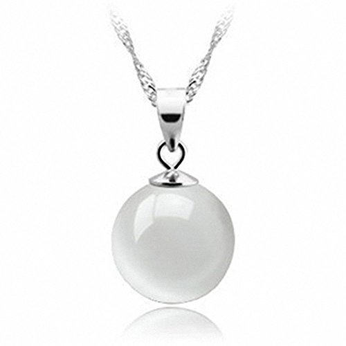 opal pull through Jewelry clear Silver Opal Cat's Eye Stone Round Ball Shape Necklace Pendant