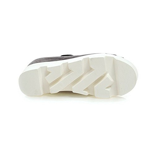 AllhqFashion Mujeres Puntera Abierta Sólido Plataforma Velcro Sandalia Gris