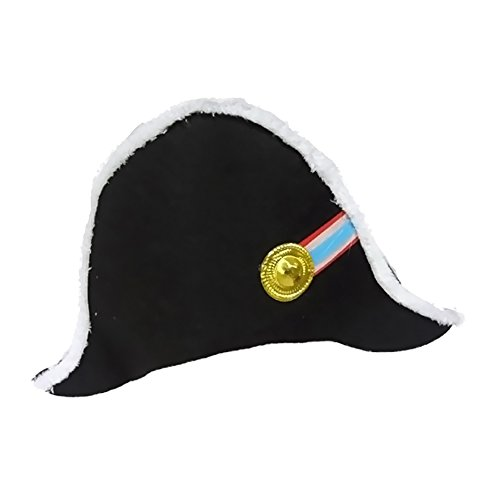 Up America Halloween Costume Napoleon Hat hat has white faux fur trimming. Gold plastic emblem with colorful ribbon attached to hat. One size fits most adults. Gold plastic emblem with colorful (Hat Napoleon)