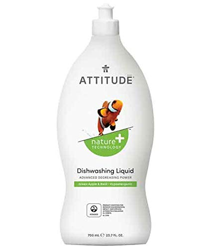 ATTITUDE Nature +, Hypoallergenic Dishwashing Liquid, Sweet Apple & Basil, 23.7 Fluid Ounce
