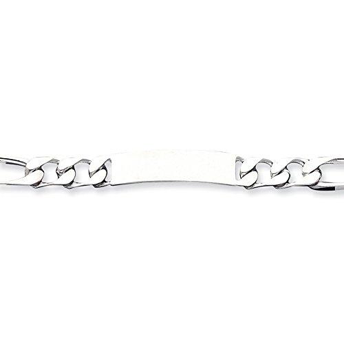 Argent 925/1000 mailles Figaro Engraveable 7,5 pouces Bracelet d'identité-Fermoirs-Mousquetons JewelryWeb