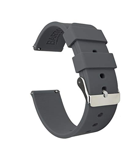 Barton Silicone Watch Bands - Quick Release Straps - Choose Color & Width - 16mm, 18mm, 20mm, 22mm - Smoke Grey 24mm