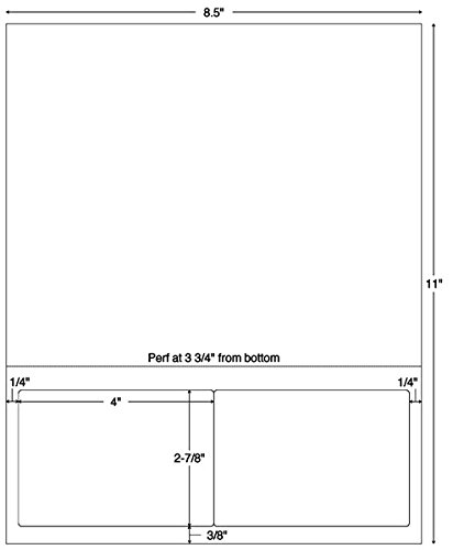 4''W x 2-7/8''H White 2-Up Integrated Label Forms (1500/Case) - TBBS-59815